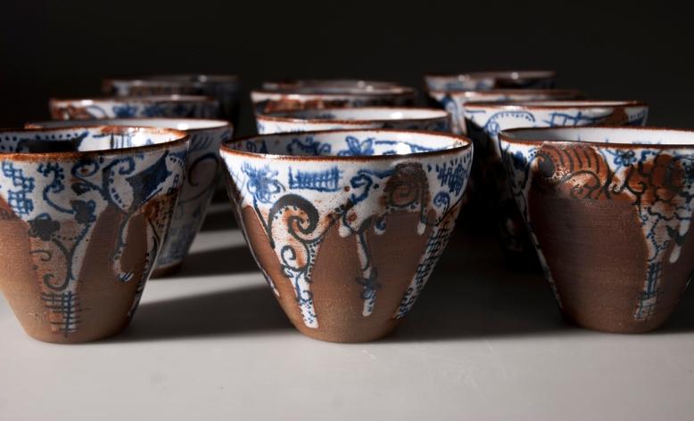 Dessert bowls, hand painted. 290 SEK. Stoneware.