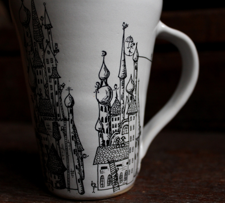 Mugs with castle pattern, detail.